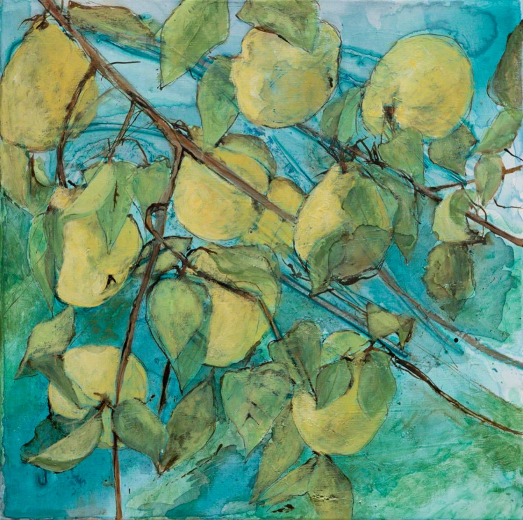 Painting of quince by Catherine Forshall yellow fruit on blue background